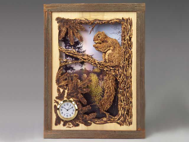 Layered and Burned Squirrel Clock