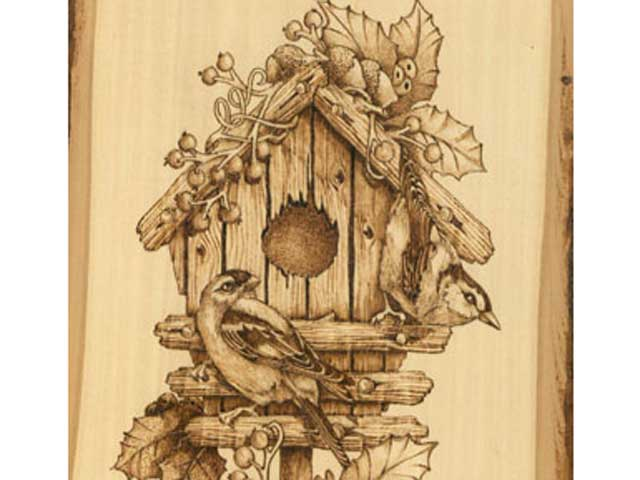 Winter Birdhouse Woodburning Tutorial – First Steps