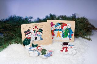Cut and Paint a Colorful Snowmen Puzzle