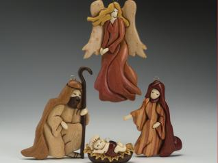 12 Piece Intarsia Nativity Set