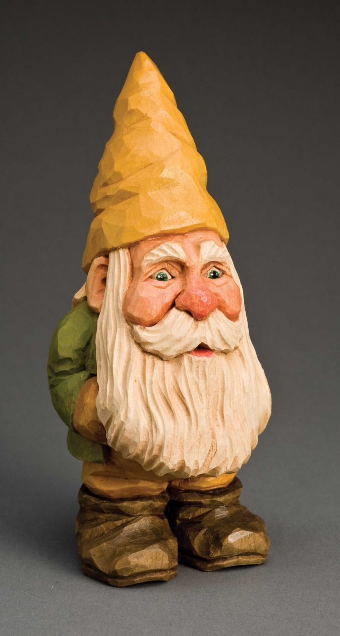 Happy christmas gnome woodcarving illustrated