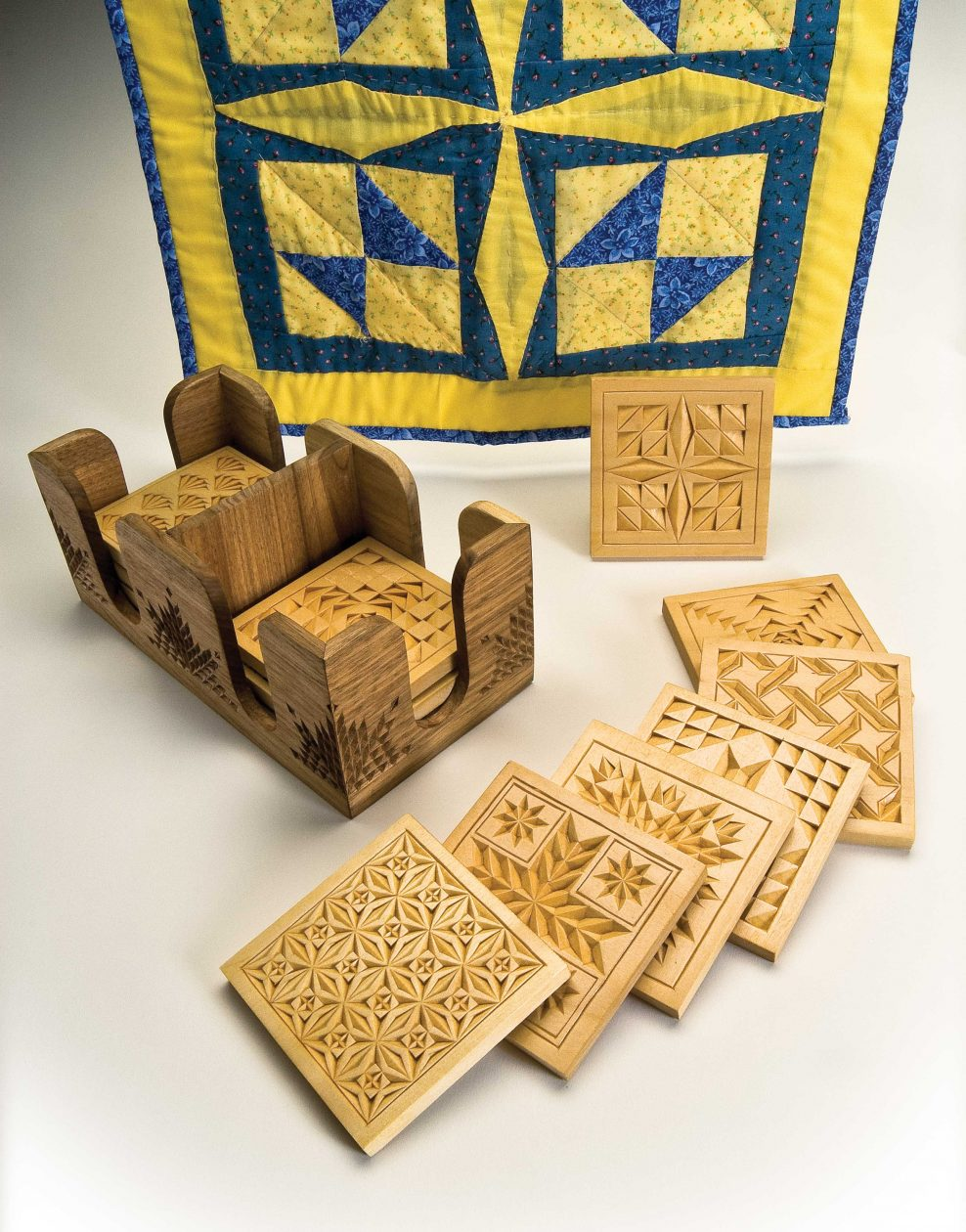 photo relating to Printable Chip Carving Patterns identified as Quilt Habits Persuade Chip-Carved Coasters - Woodcarving