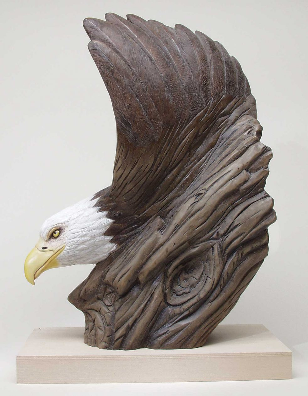 Bald eagle portrait woodcarving illustrated