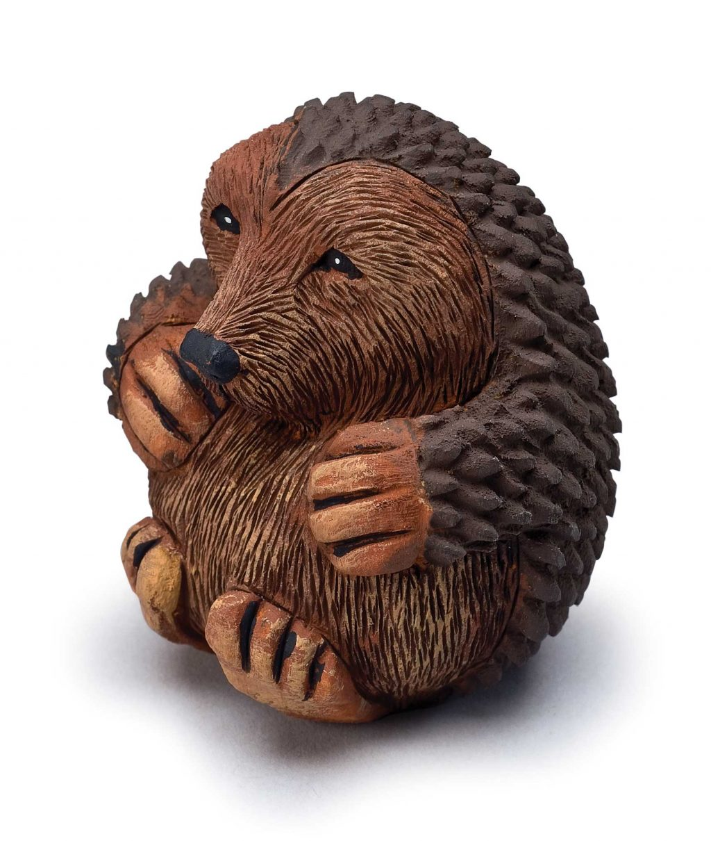 Roly poly bear woodcarving illustrated