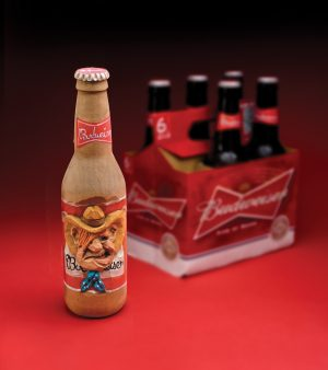 Carving a Caricature Beer Bottle Process Photos