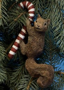 Candy Cane Squirrel Ornament