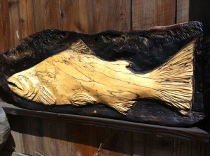 "King Salmon was carved in spalted maple and measures 3 1/2"" by 20""."