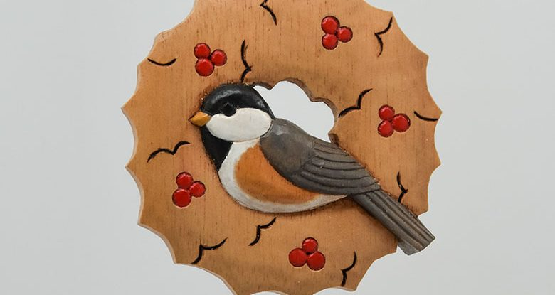 Carving a Chickadee Ornament