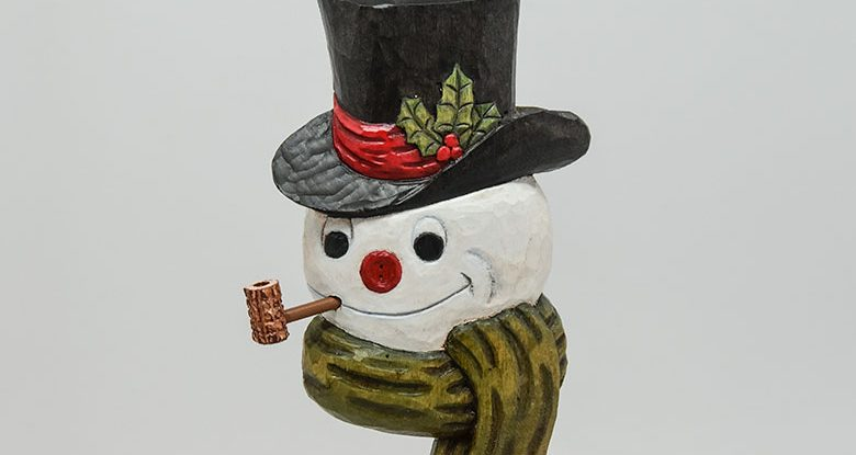 Carving a Snowman Ornament