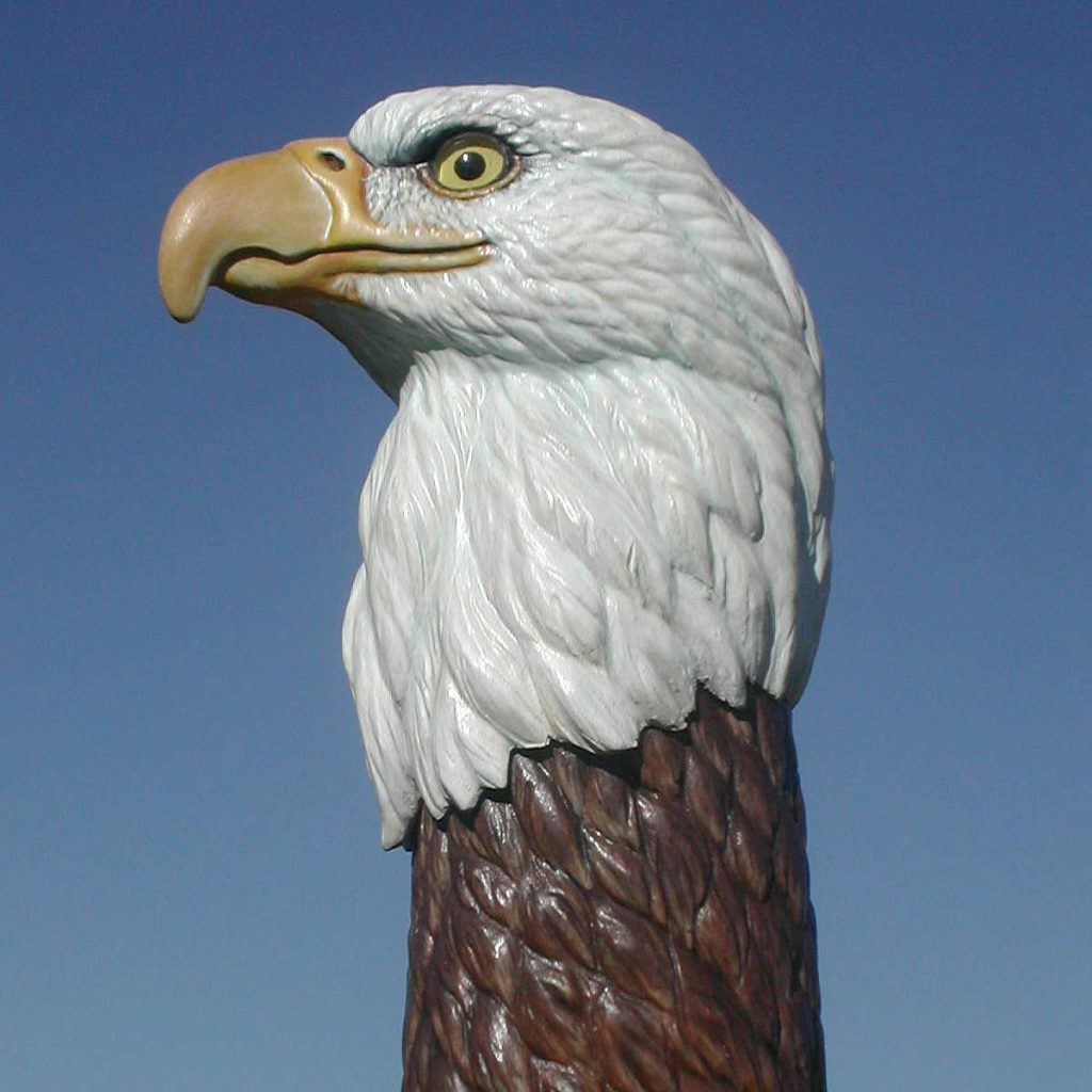 Realistic eagle bust woodcarving illustrated
