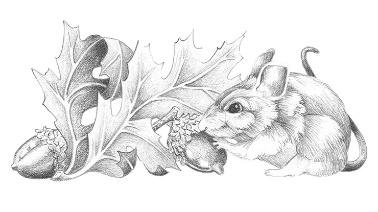 Autumn Mouse Relief Carving