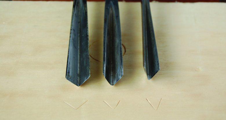 Sharpening a V-tool