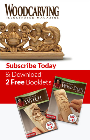 Scroll Saw Woodworking & Crafts Magazine - Subscribe Today and Download 2 Free Booklets - Learn to Carve a Wood Spirit & Learn to Carve a Witch.
