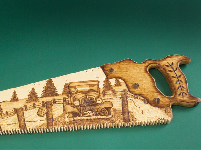 Scrolled and Woodburned Hand Saw