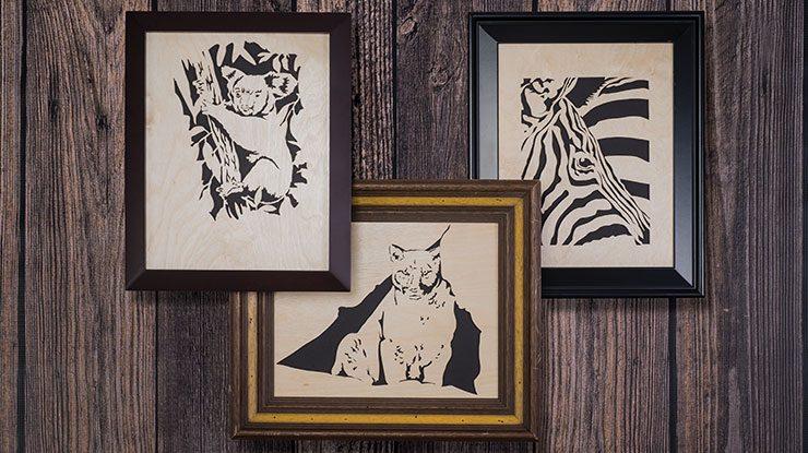 Cute Fretwork Animal Portraits