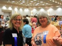 WCI's Mindy Kinsey with artist Carol Leavy. Photo by Paul Wolters.